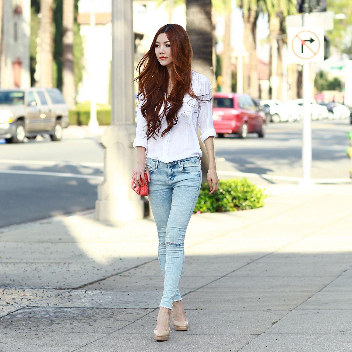 Image result for Cách mix quần jean với áo sơ mi