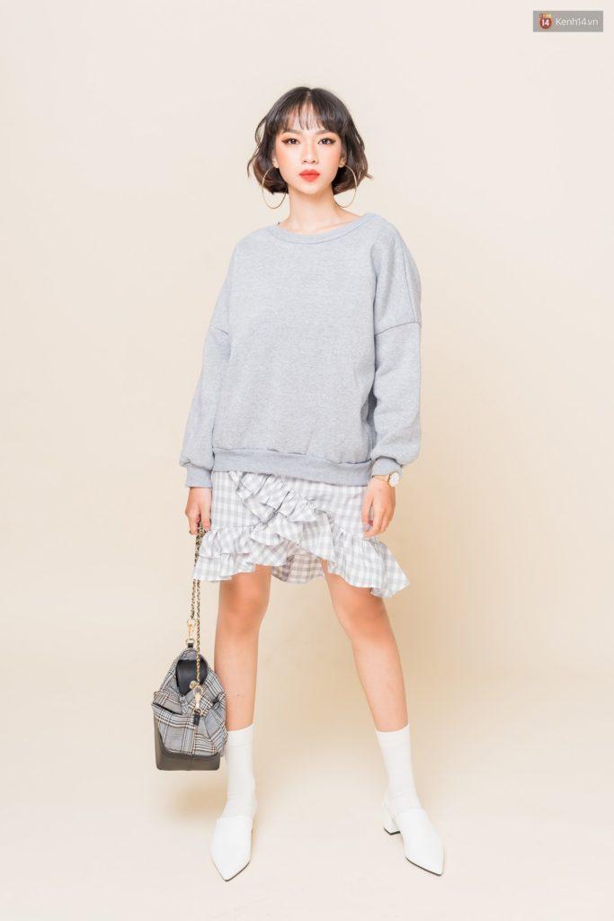 Áo len và chân váy giúp bạn trở nên thời thượng và hiện đại