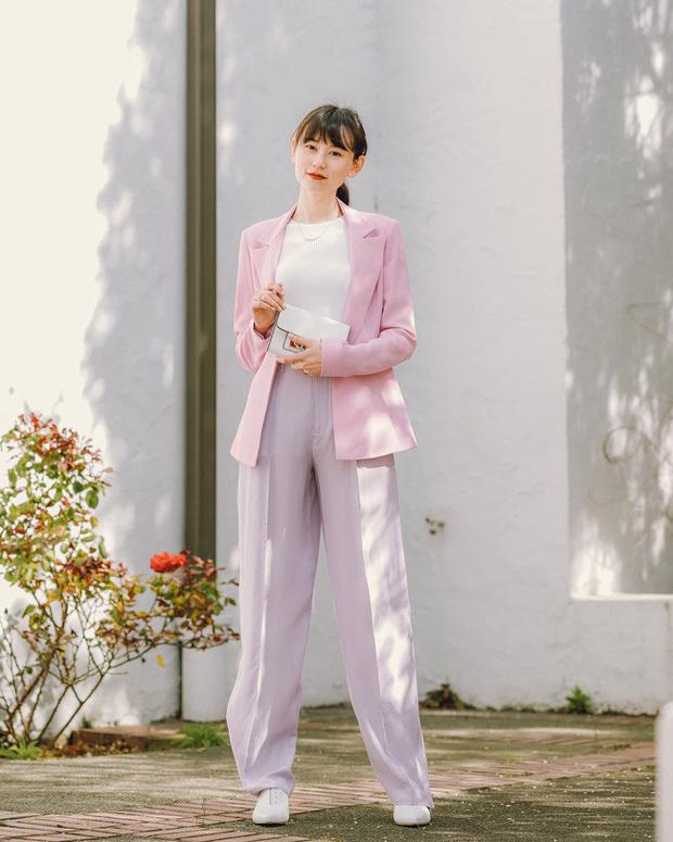 Áo Blazer mix với quần ống rộng