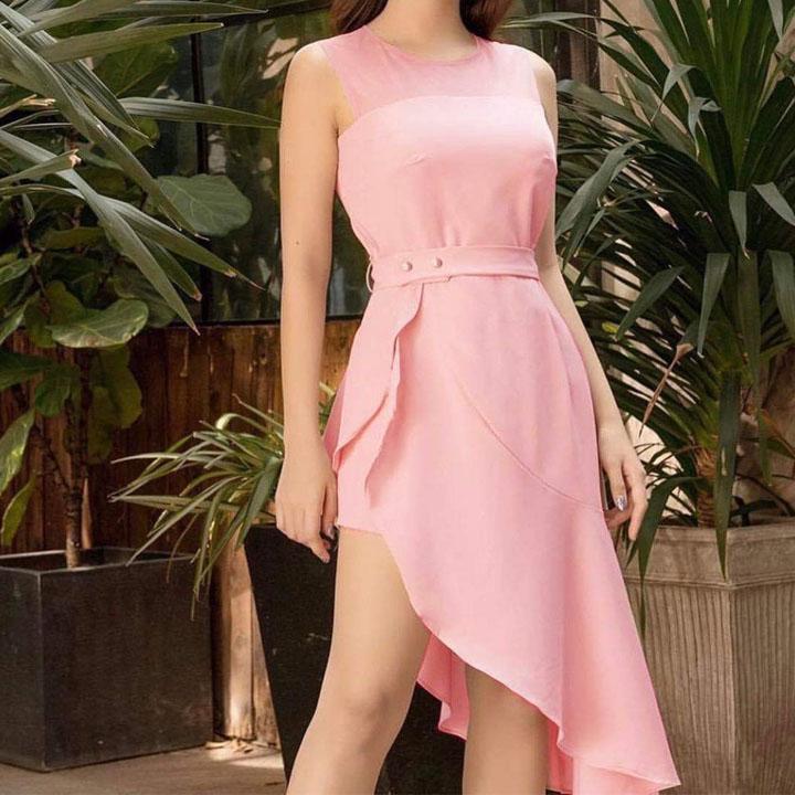 Váy Đầm Nữ Dễ Thương Chất Voan Kiều Vạt Chéo Đuôi Cá Phối Lưới Cổ, Nhấn Eo, Không Tay