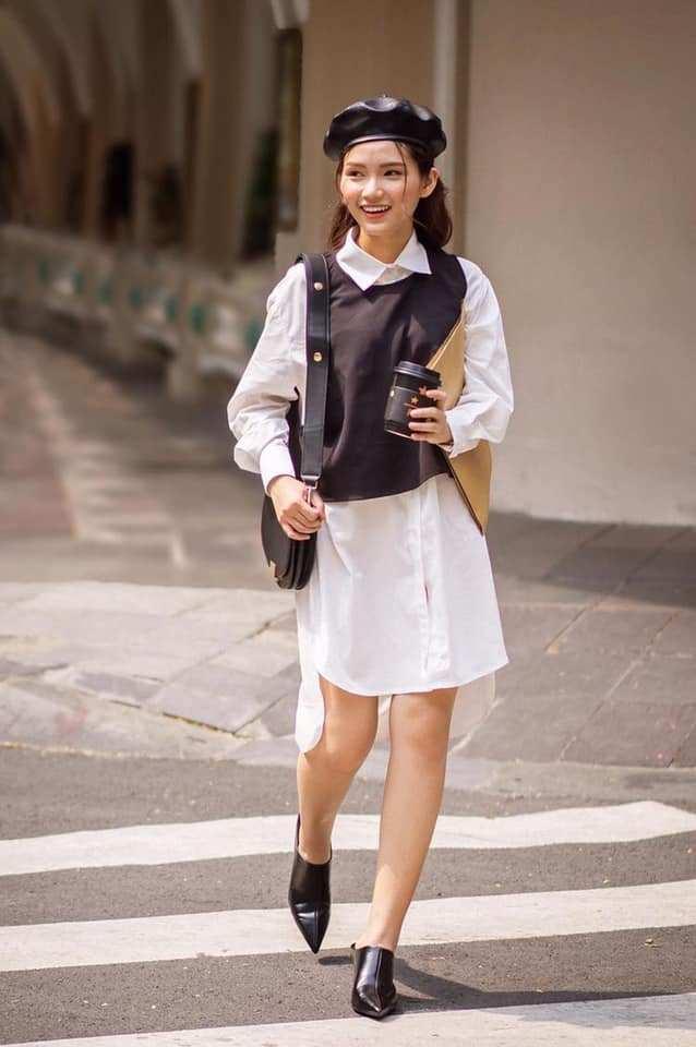 phối áo gile len với váy dài