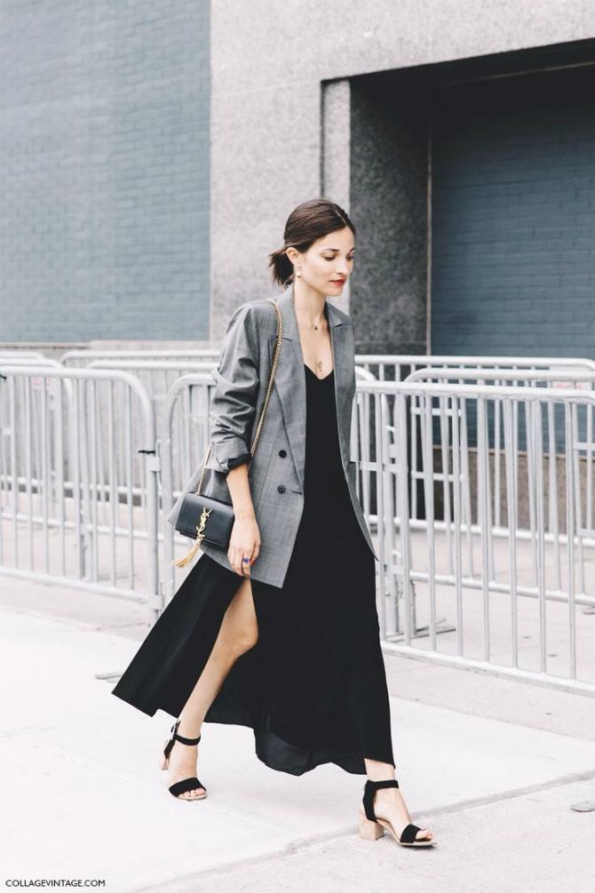 Áo Blazer phối váy suông dáng dài