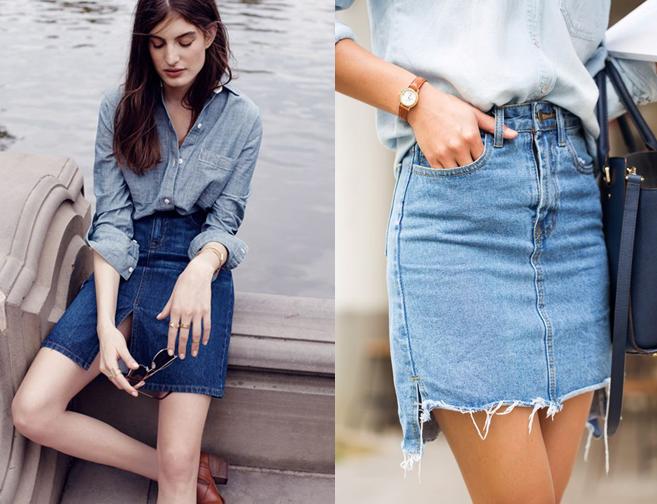 Chân váy jean kết hợp với áo sơ mi